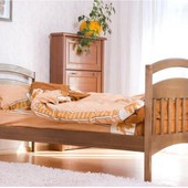Детская односпальная кровать Карина из натурального дерева в комплекте с ящики и  матрас
