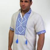 Летняя мужская вышиванка лен (Вишиванка чоловіча льон)