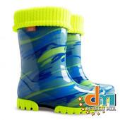 Резиновые сапоги для мальчика (салатовый/голубой) Twister-lux print, Demar