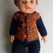 Комплект одежды Оранжевый меланж для пупсов типа Беби Борн-ручная работа.