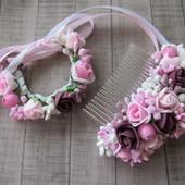 Гребешки, заколки, браслеты, шпильки из цветов на выпуск. Розы