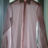 Рубашка розовая в полоску L