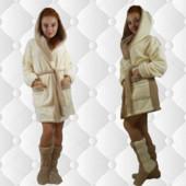 Махровый халат кремовый Анушка с сапожками
