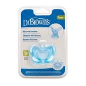 Силиконовая литая пустышка Dr. Brown's ортодонтическая 0-6 м голубая (11004)