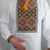 Мужская вышиванка лен (чоловіча вишиванка)