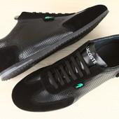Кроссовки мужские Lacoste черные кожаные с перфорацией