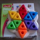 Мозаика серии -Quercetti геометрия(6 цветов, треугольн. большие фишки (12 шт.) + доска)