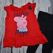 80 - 86 см Фирменная футболка футболочка девочке натуральная Peppa Pig Свинка Пеппа
