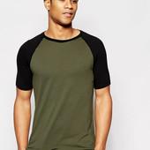 Стильная двухцвеная футболка с рукавами реглан gr/black