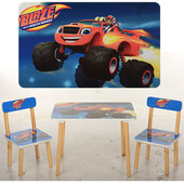 Деревянный стол детский с двумя стульчиками 50-35,Blaze