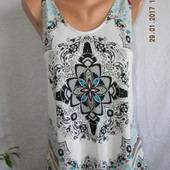Летняя вискозная блуза-майка с принтом