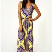 Летнее платье-сарафан в пол с принтом