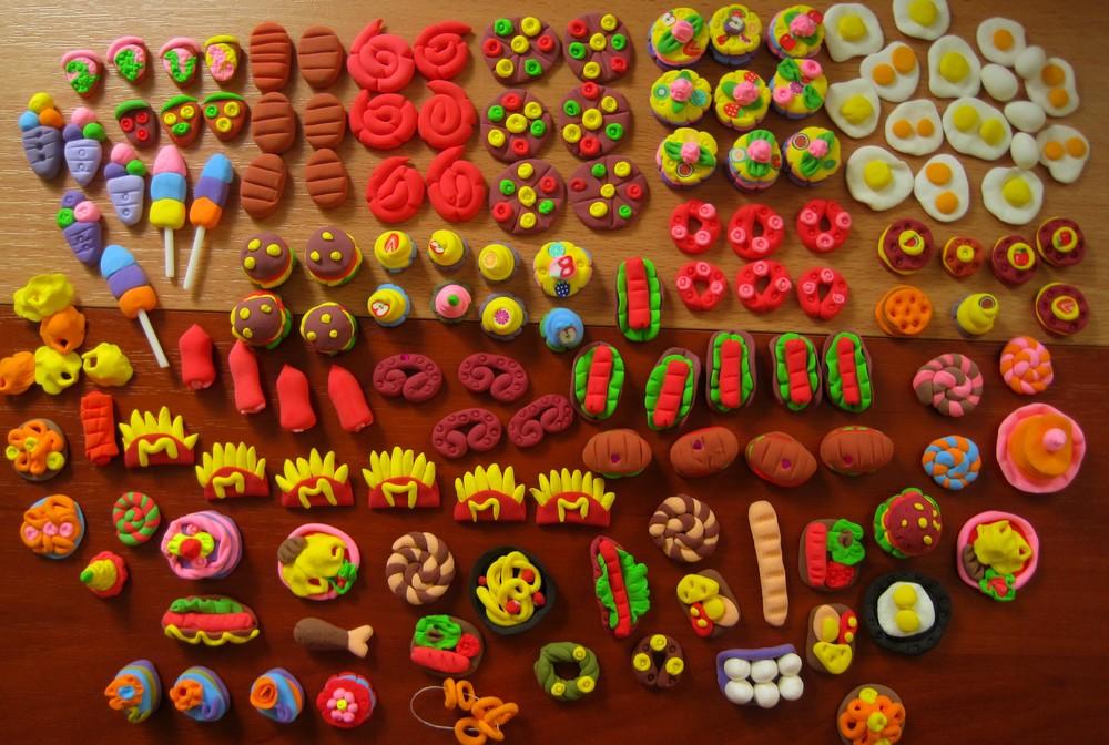 Картинки мини еды для кукол из пластилина