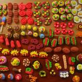 Мини-еда для игр или кукол. Набор из 20 шт. Детки в восторге! Есть также овощи и фрукты.