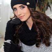 Комплект шапка + шарф снуд + перчатки. В расцветках (8