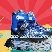 Ролики раздвижные с алюминиевой рамой Swift, синий: 31-35, 34-38 размер, мягкие PU колеса