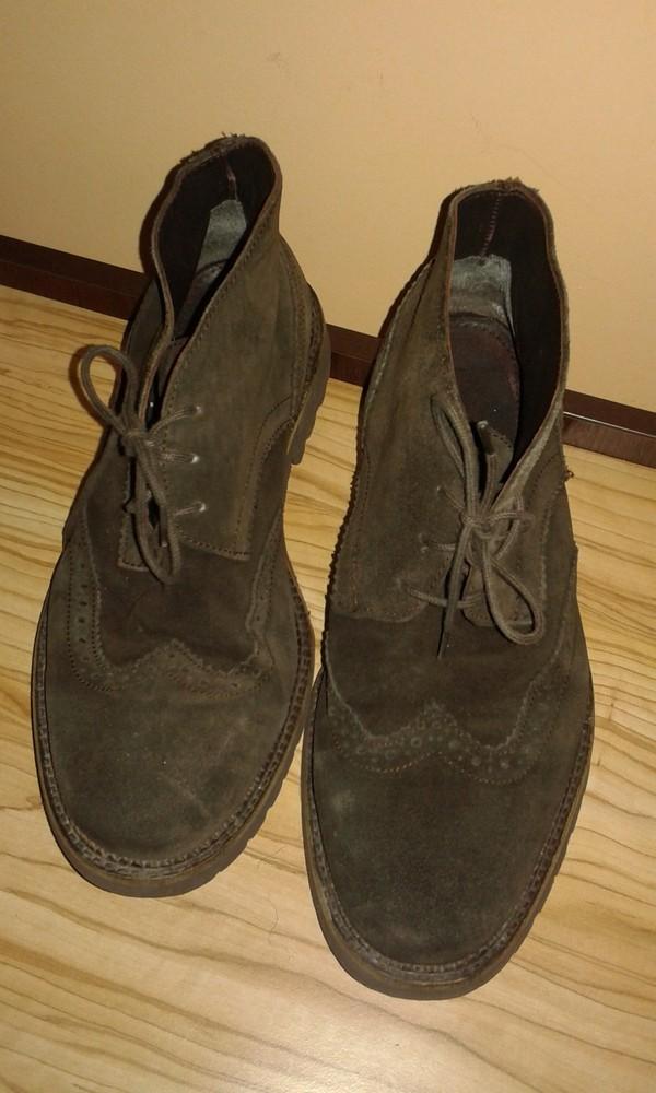 Отличные мужские замшевые итальянские туфли ботинки броги на шнурках от benetton, p.42 фото №1