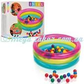 """Детский надувной бассейн """"Радуга"""" с шариками 86х25см: от 3 лет, 50 шариков в комплекте (Intex 48674)"""