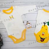 Бодик Груша, 56 62 74 размер, боди длинный рукав, хлопок Турция, 1 3 9 месяцев