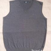 Серый строгий мужской жилет XL - 100% хлопок - Stone bay