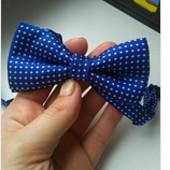 Детский галстук-бабочка в горошек, насыщенно-синий
