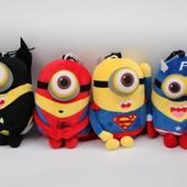 Мягкая игрушка миньон-супергерой, человек-паук, капитан Америка