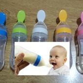 Бутылочка с ложечкой для первого прикорма, смеси, пюрешек, жидких кашек.