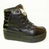 Ботинки слипоны зимние черные С311