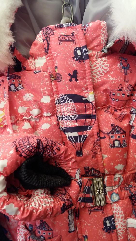 Детский зимний цветной комбинезон-тройка  для девочек 1-5 лет фото №3
