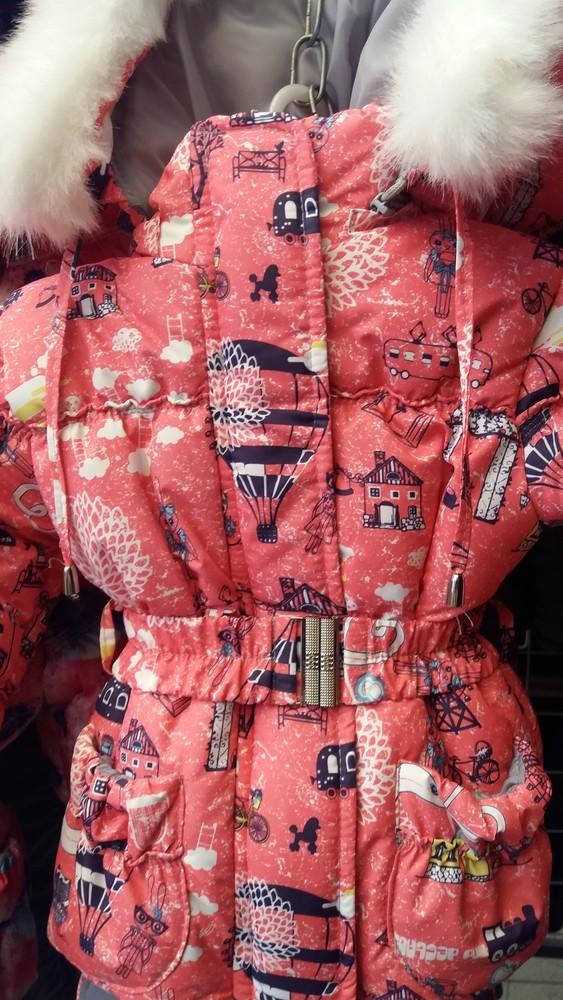 Детский зимний цветной комбинезон-тройка  для девочек 1-5 лет фото №4