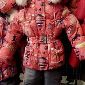 Детский зимний цветной комбинезон-тройка  для девочек 1-5 лет