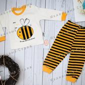 Костюмчик пчелка, 74 80 размер, на мальчика / девочку, штаны кофта, 9-12 месяцев Турция хлопок