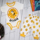 Костюмчик Апельсин, 56 62 размер, на мальчика девочку штаны бодик с коротким рукавом