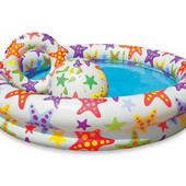 Бассейн надувной Intex 59460. цветной с набором, 122-25см