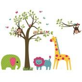 Наклейка виниловая Зверюшки под деревом