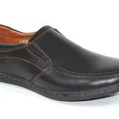 Подростковые туфли мокасины кожа