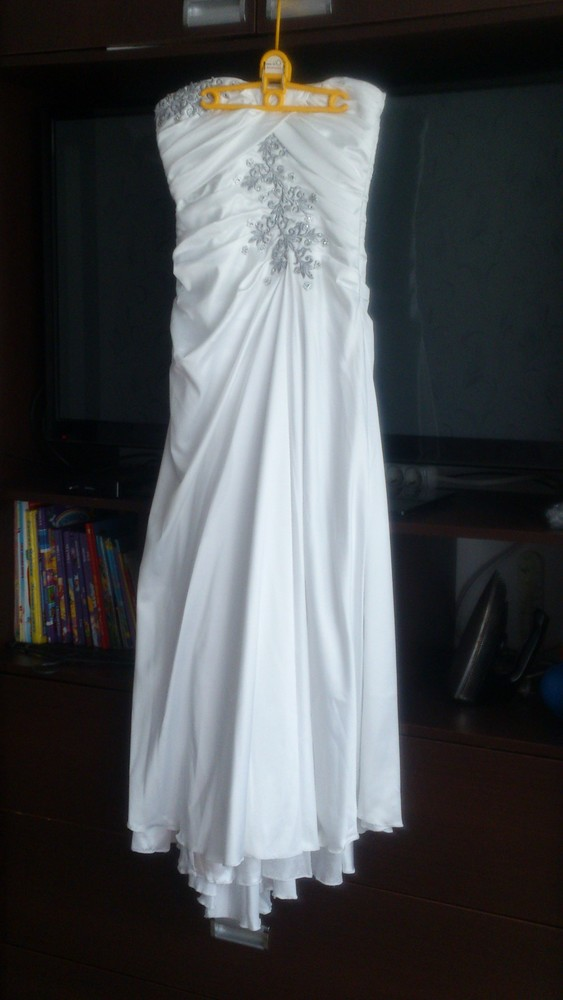 Свадебное белое качественное платье m/s р. в идеальном состоянии! фото №1