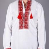 Мужская рубашка вышиванка на домотканном льне