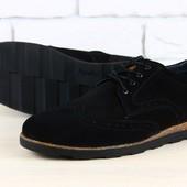 Туфли - комфорт мужские замшевые на шнурках