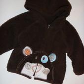 тёплая кофта-куртка меховушка на малыша 3-9 мес