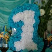 Цифра один на день рождения или годовасие .За блиц + помпоны+свечка+ баночки!У.П +20 грн.