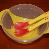Детский набор посуды с ложкой и вилкой, меняющими цвет при перегреве еды