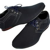 Мужские туфли - мокасины синего цвета (БМ-01с)