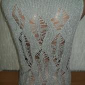 Туника платье жилетка с узором серебро люрекс