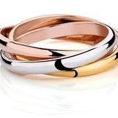 Кольцо,покрытое тремя видами золота р 16,17,18,19