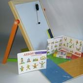 Деревянная магнитная доска для рисования с геометрическими фигурами MD 0711