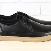 Кеды мужские  кожаные на шнурках