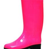 Литма неоновые силиконовые сапоги розовые в наличии с утеплителями