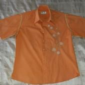 Фирменная оранжевая шведка рубашка р.46-48