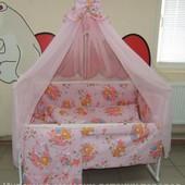 """4 расцветки! 9 в 1 - комплект постельного белья для малышей """"Мишка и пчелка на Луне"""""""